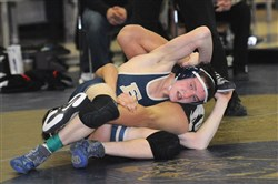 Franklin Regional's Gus Solomon won by a 10-0 major decision against Belle Vernon's Brock Godzin in the semifinal match at 126 pounds at the Westmoreland County Coaches Association Tournament in January 2015.