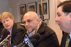 Ex-Boilmakers Local 154 Business Manager Ray Ventrone (center), pictured in 2015 during a news conference on the union's Guns for Opportunity program. Flanking him are Allegheny County Executive Rich Fitzgerald (left) and Pittsburgh Mayor Bill Peduto.