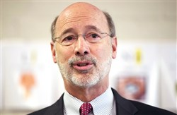 "FILE - In this Feb. 11, 2015 file photo, Gov. Tom Wolf speaks during a news conference at Elementary School  n Thorndale, Pa.  Wolf imposed a moratorium on the death penalty in the state Friday, Feb. 13, calling the current system of capital punishment ""error-prone, expensive and anything but infallible.""(AP Photo/Matt Rourke)"