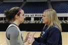 Jordan Serio, a sophomore, plays basketball for her mother, head coach Suzie McConnell-Serio at the University of Pittsburgh. They share a moment after practice on Wednesday.