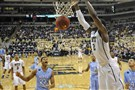 Pitt's Michael Young dunks against North Carolina in the second half Saturday at the Petersen Events Center.