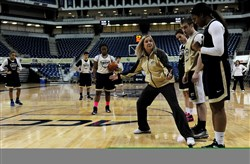 Pitt women's coach Suzie McConnell-Serio gives instruction at a Panthers practice earliers this season.
