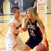 Justina Mascaro, a sophomore and the leading scorer, plays one-on-one with her brother Joe Mascaro,  a senior at Bethel Park and the leading scorer on the boys basketball team.