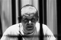 "Anthony Hopkins as the caged Hannibal Lecter in the 1991 film ""Silence of the Lambs."""