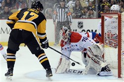 Capitals goaltender Braden Holtby stops a shot by Penguins' Blake Comeau in the third period of a game Tuesday, February 17, 2015, at Consol Energy Center.