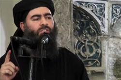 The leader of the Islamic State group, Abu Bakr al-Baghdadi, delivering a sermon at a mosque in Iraq during his first public appearance last year.