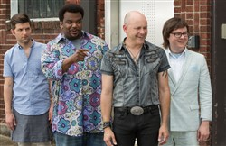 "From left, Adam Scott is Adam Jr., Craig Robinson is Nick, Rob Corddry is Lou, and Clark Duke is Jacob in ""Hot Tub Time Machine 2."""