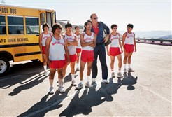 "From left, Jose Cardenas (Johnny Ortiz), Danny Diaz (Ramiro Rodriguez), Thomas Valles (Carlos Pratts), Victor Puentes (Sergio Avelar), Damacio Diaz (Michael Aguero), Coach Jim White (Kevin Costner), Johnny Sameniego (Hector Duran) and David Diaz (Rafael Martinez)  in ""McFarland, USA."""