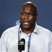 Cleveland Browns general manager Ray Farmer apologizes for sending improper texts during games in a news conference at the NFL football scouting combine Thursday in Indianapolis.