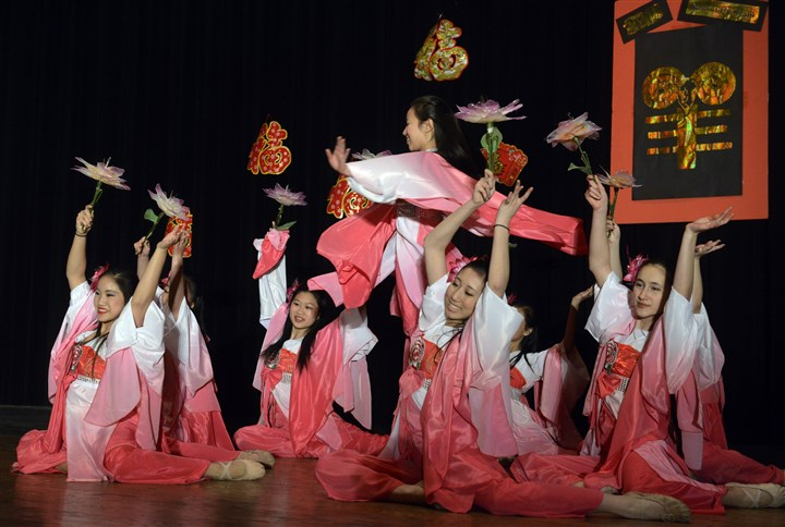 20150221bwChineseSEEN04-2 The advanced level dancers of the Organization of Chinese Americans, Pittsburgh Chapter perform for the groups' Lunar New Year Celebration.