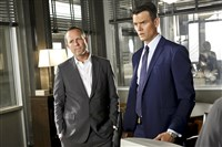 "Dean Winters as Detective Russ Agnew, left, and Josh Duhamel as Special Agent Milt Chamberlain in ""Battle Creek."" and Det. Russ Agnew go undercover as distillers to infiltrate Battle Creek's maple syrup cartels when a murder victim is found to have drowned in the gooey breakfast confection."