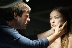 "Mark Duplass and Olivia Wilde in ""The Lazarus Effect"": After she is killed, he brings her back to life, but it's a different kind of life."