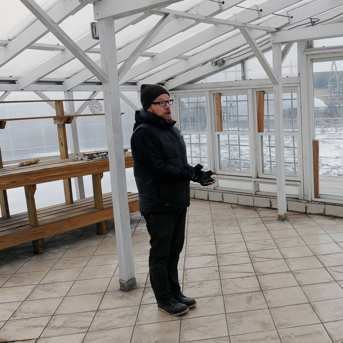02150222ng_Sousa5-4 Kevin Sousa talks in February about the greenhouse in Superior Motors, a new restaurant scheduled to open in Braddock.