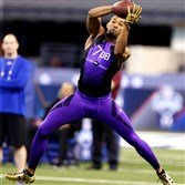 Will the Steelers make LSU defensive back Jalen Collins, shown here during the 2015 NFL Combine at Lucas Oil Stadium, their top pick in the draft? He ran the 40-yard dash in 4.41 seconds.