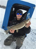 This nice northern pike was pulled through the ice covering Conneaut Lake, Crawford County, by Nico Summaria of Peters. Although safe ice continues to hold throughout most of the region, it's prudent to take safety precautions.