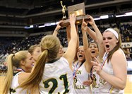 Seton-LaSalle teammates celebrate their win against Bishop Canevin in the WPIAL Class AA championship Friday at Petersen Events Center.