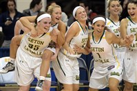 Seton-LaSalle teammates celebrate their win over Bishop Canevin in the WPIAL class AA championship Friday at the Petersen Events Center.