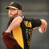 Pirates right hander Brad Lincoln during workouts at Pirates City in Bradenton, Florida.