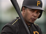 Jose Tabata waits on deck to hit during batting practice at Pirates City, Bradenton, Fla.