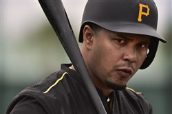 The Pirates' Jose Tabata waits on deck to hit during batting practice in spring training in February.