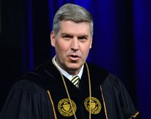 University of Pittsburgh chancellor Patrick Gallagher gives a speech to students and faculty after being installed as the 18th Chancellor of the University at the Carnegie Music Hall in Oakland on Saturday.