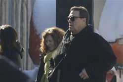 "Actor John Goodman arrives  at the Lincoln Pharmacy in Millvale to shoot the upcoming movie ""Let It Snow"""