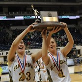 Blackhawk's Courtney Vannoy, left, and Bridgette Shaffer celebrate after winning the WPIAL AAA title.