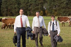 "Vince Vaughn, left, Tom Wilkinson and Dave Franco star in ""Unfinished Business."""
