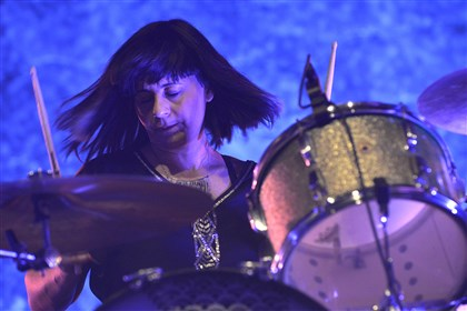 Sleater-Kinney drummer Janet Weiss playing at Stage AE Sunday night.
