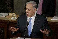 Israeli Prime Minister Benjamin Netanyahu addresses a joint meeting of Congress on Tuesday.