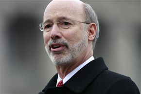 Gov. Tom Wolf's budget projects that a new tax on the volume and value of gas flowing from Pennsylvania wells will take effect on Jan. 1, 2016.