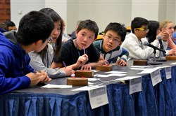 From left, Roy Sun, Jiwoo Cheon, Jerry Chen and Jiangfeng Chu, students from North Allegheny's Marshall Middle School, discuss an answer Wednesday during the final rounds of the 2015 Southwestern Pennsylvania Science Bowl against Dorseyville Middle School.