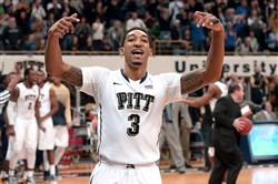 Pitt's Cameron Wright celebrates near the end of his team's win over Notre Dame on Jan. 31 at the Petersen Events Center.