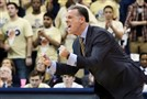 Pitt head Jamie Dixon yells out to his Panthers as they battled Miami in the first half Wednesday at Petersen Events Center. Pitt lost 67-63.
