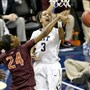 Pitt's Brianna Kiesel is fouled by Virginia Tech's Taijah Campbell in the ACC women's tournament Thursday in Greensboro, N.C.