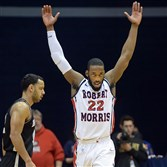 Robert Morris' Lucky Jones celebrates near the end of his team's win over Bryant Saturday of the semi-finals of the NEC tournament at the Sewall Center, March 7, 2015.