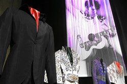 Simple and bedazzled suits once worn by Elvis, many while performing on stage in Las Vegas, are displayed at the Westgate Las Vegas Hotel, originally known as The International Hotel in Las Vegas. It's part of a partnership between Graceland and the Westgate Las Vegas to establish a permanent exhibit and revive the Elvis concert experience in the showroom where the icon once performed.