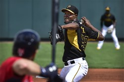 Pirates pitcher Radhames Liz delivers against the Twins earlier this month at McKechnie Field in Bradenton, Florida.