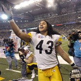 From the archives: Troy Polamalu looks for his family in the stands after defeating the Seahawks in Super Bowl XL.