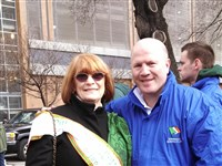 St. Patrick's Day Parade organizer Jan Griffith with Michael Caruth, the Irish gold medal Olympian boxer who will appear in the parade.