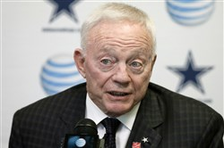 In this Jan. 15, 2015, file photo, Dallas Cowboys team owner Jerry Jones responds to a question during a news conference at the teams headquarters in Irving, Texas. Jones said Tuesday, March 10, 2015, he regretted the fact that some fans ended up without seats during the 2011 Super Bowl at his billion-dollar showplace stadium as he testified in a lawsuit by fans who sued the NFL.  (AP Photo/Tony Gutierrez, File)
