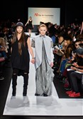"Pittsburgh-based fashion designer Romina Vairo, left, with a model wearing a garment from Ms. Vairo's ""Frozen Bone"" collection at Mercedes-Benz Fashion Week on Feb. 17, 2015, at Lincoln Center in New York City."