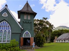 Hanalei's Wai'oli Hui'ia Church sits beside the Mission Hall, circa 1841, the oldest surviving church building on the island of Kauai.