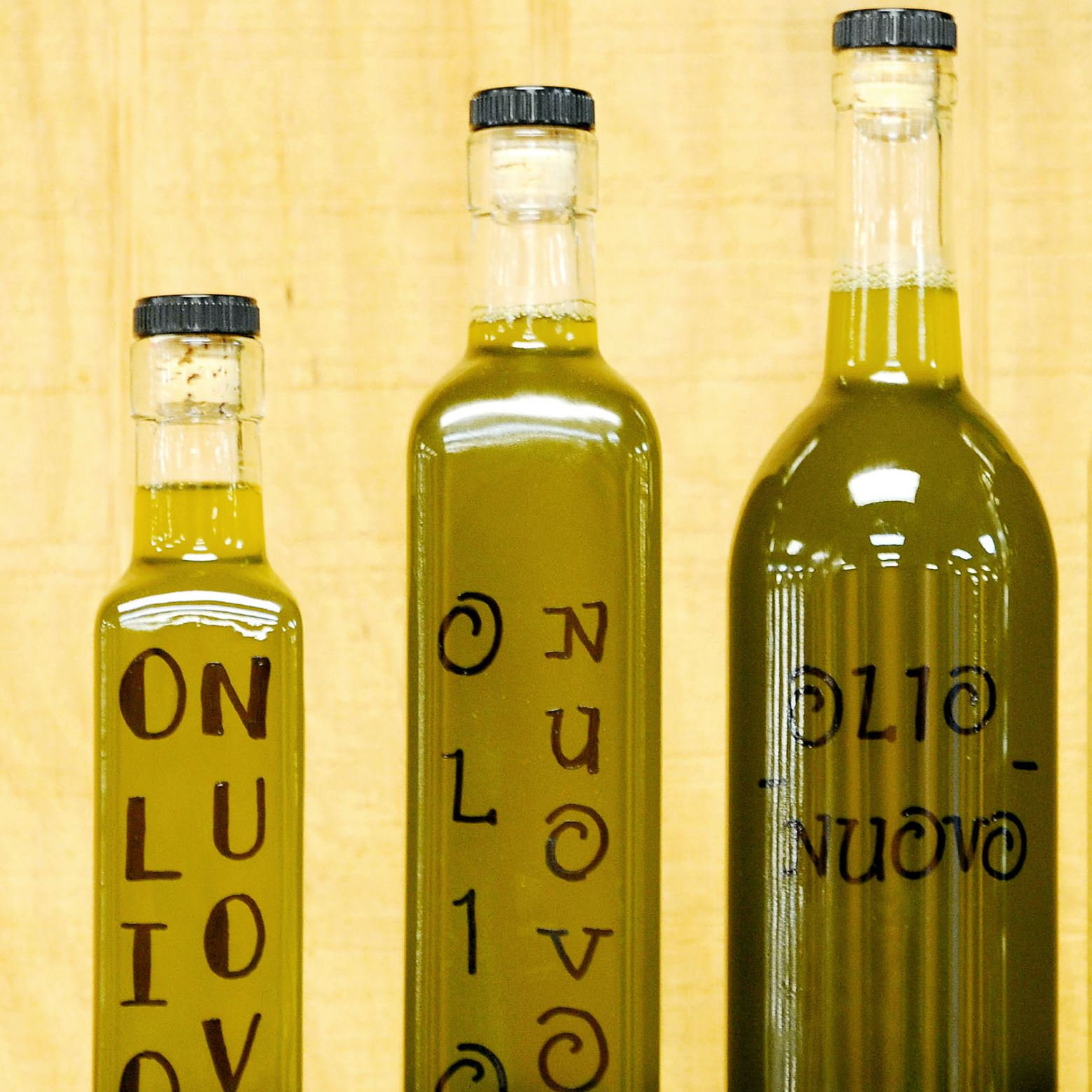 20150307ppDine0315SUNMAG2-1 A sample of new-crop olive oils that Dave Lagnese sells at his California Connection stand at the Farmers' Market Cooperative of East Liberty.