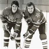 "Alex Kasatanov, left, and Viacheslav ""Slava"" Fetisov were members of the Soviet hockey team beaten by the American team in the 1980 Olympics."