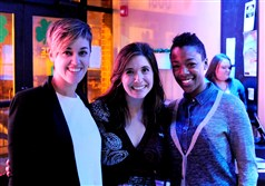 Lauren Morelli with Heather Arnet and Samira Wiley at a special event to raise money for local LGBTQ groups.