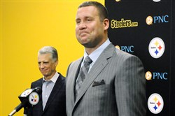 Ben Roethlisberger and Steelers President Art Rooney II, left, speak to the media Friday after the Steelers' quarterback signed a new five-year contract.