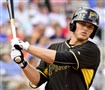 Pirates outfield prospect Austin Meadows bats against the Boston Red Sox at Jet Blue Park in March in Fort Myers, Fla.