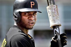 Peter Diana / Post-Gazette3/14/2015   :  Pittsburgh Pirates Gregory Polanco bats against the Red Sox at Jet Blue Park  in Ft Myers Florida.