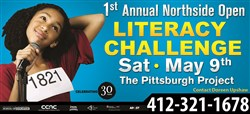 A billboard for the Northside Open Literacy Challenge.
